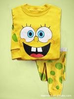 Hot 6set / lot Baby Clothing Child Pajamas Long sleeve Tracksuit Yellow Sponge Long sleeve Jacket, trousers Set 2 PCS sets7257