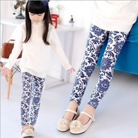 o52 new 2014 casual girl legging 3-8 age flower print children pants spring 2014 kids leggings 5pcs/ lot free shipping