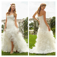 New Fashion Sweetheart Organza Hi-Lo Wedding Dress White/Ivory Romantic Beaded Ruffles Wedding Gown Free Shipping cc219