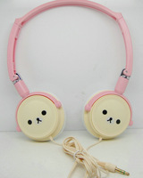 1PCS Free Shipping, Cute Bear Design Headband Headphone, Wired Mobile Computer Cartoon Headsets Head Phone,Brown / Beige Headset