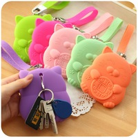 Free Shipping Hearts Lucky Cat Silica Gel Key Wallet Key Holder / Card Bag / Bus / Bank Card Sets