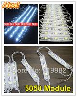 1set/lot (20pcs/set), 5050 3 LED modules cool white waterproof, Super Bright lighting IP 65 led module DC 12V, free shpping