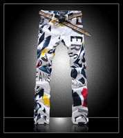 """2014 New Men Italy Runway Color Painted """"Big Letter"""" Printing Fashion Jean Waist size 28-40"""