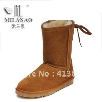Free shipping!New designer winter knee-high genuine leather strap cow muscle outsole snow boots,women fashion warm fur boots