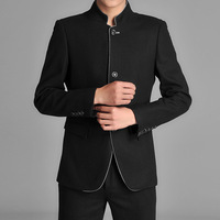 Slim men's national clothes traditional clothes men's clothing chinese tunic suit tang suit black tang coat