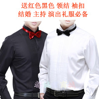 Groom wedding dress the swallow french cufflinks male long-sleeve shirt white shirt pink