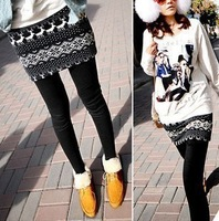 Free shipping 2013 Winter New Korean wild rabbit hair women's culottes Leggings fake snowflakes fawn  winter pants women