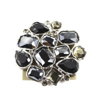 Fashion accessories b38 : luxury black big gem brooch