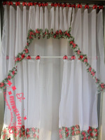 free shipping 2013 new arrival embroidery cutout embroidered kitchen curtain coffee curtain semi-shade curtain 5pcs\set