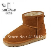New designer autumn and winter scrub genuine leather cow muscle outsole snow boots,Women ankle warm fur boots,free shipping