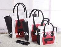 red black white smooth original  leather bag 3307 3308 3309 smile fashion  women handbag top quality wholesale and retail