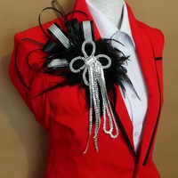 Fashion epaulette corsage personality punk feather epaulette brooch flower tassel