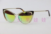 Gold Fashion metal sunglasses vintage tf0304 color film plate sunglasses fashion all-match Yellow lens coating