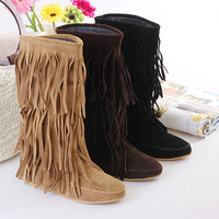 Women's 3 Layer Fringe Tassels Flat Heel Decoration Mid-Calf Slouch Boots Shoes 4 Sizes drop shipping 9155
