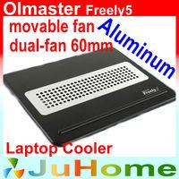 movable dual-fan 6cm fan, laptop cooler laptop cooling notebook cooler aluminum heat plate Ultra-thin, OImaster Freely5
