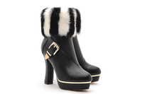 free shipping women boots genuine leather rabbit fur boots leopard print liner buckle thick heel boots