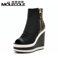 Side zipper high-heeled shoes wedges thick heel high-top shoes color block decoration women's autumn casual shoes