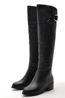free shipping 2013 genuine leather first layer of cowhide buckle barreled knee-length boots shoes f50-1