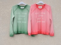 Pepe jeans 100% cotton loop pile water wash retro finishing gradient women's sweatshirt long-sleeve