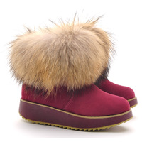 free shipping 2013 rollaround women's winter platform shoes genuine leather ankle snow boots thermal boots 8802