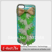 Shinning diamond bowknot flower phone hard cases for iphone 5