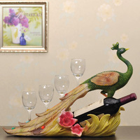 Peacock resin wine rack belt cup fashion wedding gift decoration