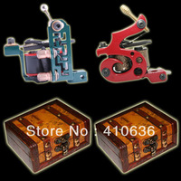 complete - 2 Top Handmade Tattoo Machine Gun Kit Shader+ Liner + two wood boxes  A005