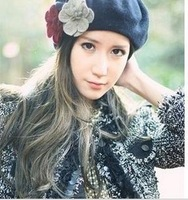 Free shipping fashion flower Wool Beret Hat Winter Warm Hat women cap