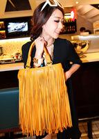 2014 New Women's Fashion Punk Tassel PU Leather Handbag Solid Color Rivets Shoulder Bag Tote Bag in Stock
