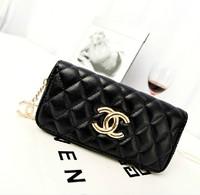 Fashion vintage fashion long design women's wallet plaid stitch women's handbag