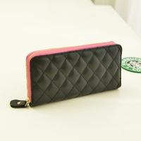 2013 autumn embroidery leather plaid small sachet long design women's wallet women's handbag