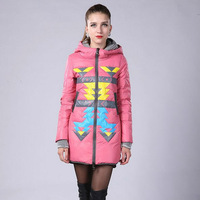 2013 New winter Fashion women lady warm clothes Slim Thick Long Hooded Duck Down Print Jacket Occident Style Outwear Coat YRF009