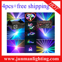 4pcs 1W RGB Animation Laser Light With 25Kpss Scanner DJ Stage Lighting Led Cartoon Light High Power Laser Light Free Shipping