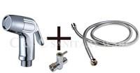 Hand Held Chrome ABS Bidet Shower Sprayer with Brass T-adapter