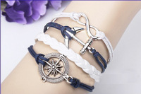 Vintage Retro Anchor Rudder & Infinity Handmade Braided Unisex Bracelet Jewelry Leather Free Shipping RuYiSLQ087
