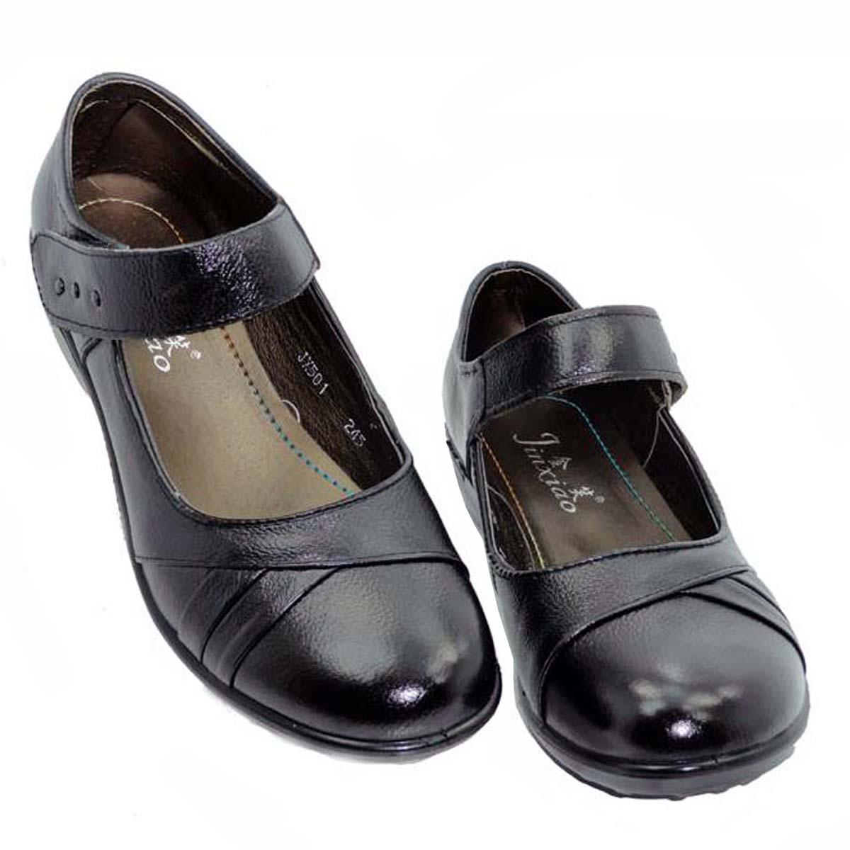 Sapatos femininos de couro genuíno sapatos único boca rasa plana idosos sapatos de couro mãe calcanhar plana sola macia(China (Mainland))