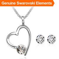 2013 Christmas Gifts! Crystal heart necklace earring set for women made with Swarovski Elements