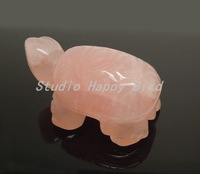 Wholesale Stone Carvings 1PC Hand Carved Animal Rose Quarz Turtle 2inch Crystal Carvings Friend Gift