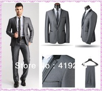 New Style Slim Fit Suits One Button Dress Suits For Men Designer Wool Men Suits Black Silver
