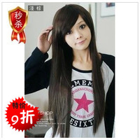 Girls long straight hair wig non-mainstream wig fluffy long straight hair oblique long straight hair bangs