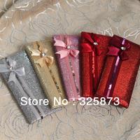 10PCS/LOT UK Best Sale Glittering Luxury Wedding Invitations Cards with Ribbon Decoration and Handbag T067