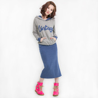 Mm plus size clothing grey sweatshirt with a hood t-shirt blue after vent half-length full dress set 0280