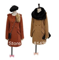 New 2014 Women Trench Bodycon Slim Rivets Appliques Double Breasted O-Neck Solid Long Length Fashion Black Yellow S~XXL