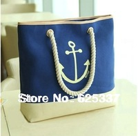 2014 Female Anchor Canvas Bag Female Shoulder Bag Women's Handbag Beach Bag Big Casual Bag Shopping Bag Navy Style