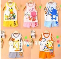 Wholesale New Summer Baby kids childrens suit 3 pieces/set vest + short pants boy's girl's cotton set 5 color
