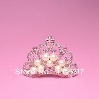 Trial Order Baby Tiara, Crystal & Pearl Tiara , Princess Tiara, , Newborn Child Girls Accessiores 12pcs/lot QueenBaby
