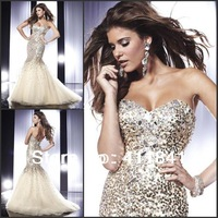 P521 Free Shipping Sweetheart Sequined With Crystals Mermaid Evening Gown 2014 Evening Dress