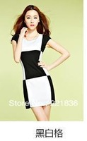Free Shipping The new dress lattice joining together cultivate one's morality show thin dress with short sleeves