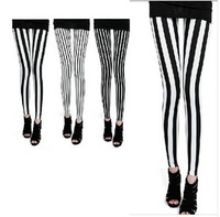 2013 Spring Leggings Brand Women Black and White Stripe Thin Pants Ankle Length Leggings W3265