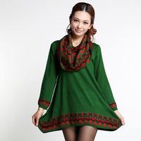 2013 autumn plus size clothing mm sweater long-sleeve sweater loose sweater medium-long